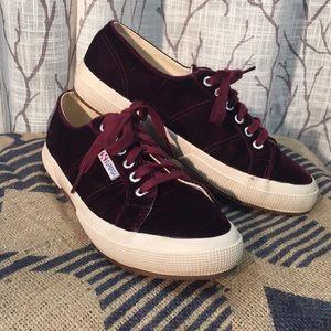 Superga velvet maroon sneakers